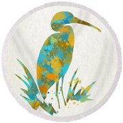 Heron Watercolor Art Round Beach Towel