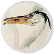 Heron With A Fish Round Beach Towel