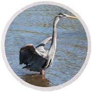 Heron With Gator Round Beach Towel