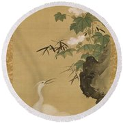 Herons And Cotton Roses Round Beach Towel