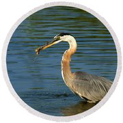 Herons Catch Round Beach Towel