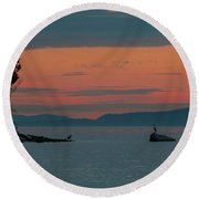Herons In The Distant At Semiahmoo Bay At Dusk Round Beach Towel