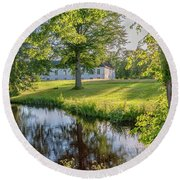 Herrevads Kloster By The Riverside Round Beach Towel