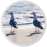Herring Gulls On The Beach Round Beach Towel