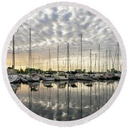 Herringbone Sky Patterns With Yachts And Boats  Round Beach Towel