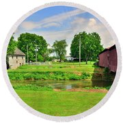 Herr's Grist Mill And Covered Bridge Round Beach Towel
