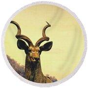 Hi, I Am Kudu Round Beach Towel