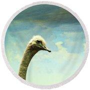 Hi, I Am The Ostrich Round Beach Towel