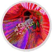Hibiscus Macro Abstract Round Beach Towel