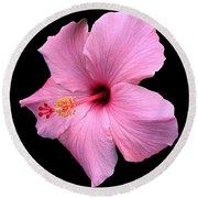 Hibiscus On Black Round Beach Towel