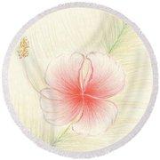 Hibiscus On Palm  Round Beach Towel