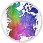 Hibiscus S D Z 2 Cool Rainbow 3 Dimensional Round Beach Towel