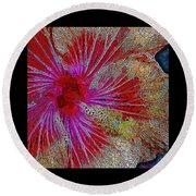 Hibiscus Stained Glass Round Beach Towel
