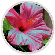 Hibiscus With A Solarize Effect Round Beach Towel