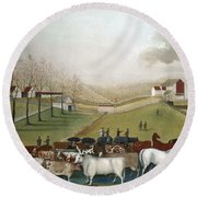 Hicks: Cornell Farm, 1848 Round Beach Towel
