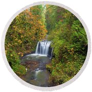 Hidden Falls In Autumn Round Beach Towel