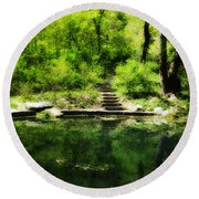 Hidden Pond At Schuylkill Valley Nature Center Round Beach Towel by Bill Cannon