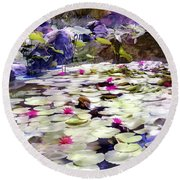 Hidden Pond Lotusland Round Beach Towel