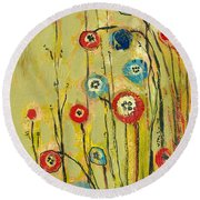 Hidden Poppies Round Beach Towel by Jennifer Lommers