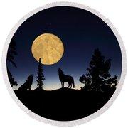Hidden Wolves Round Beach Towel by Shane Bechler