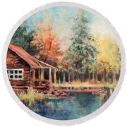 Hide Out Cabin Round Beach Towel