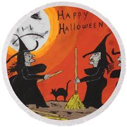 Hide The Halloween Candy Round Beach Towel