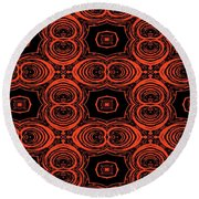 Hiding Behind A Red Mask Round Beach Towel