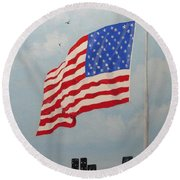 High Above The City Round Beach Towel