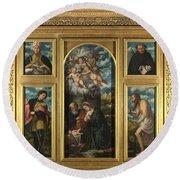 High Altarpiece S Alessandro Brescia Round Beach Towel