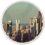 High-angle View Of Dubai's Towers At Sunset.  Round Beach Towel