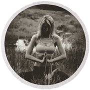 High Contrast Meditation Meadow Round Beach Towel