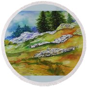 High Country Boulders Round Beach Towel