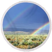 High Dessert Rainbow Round Beach Towel