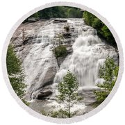 High Falls At Dupont Forest Round Beach Towel