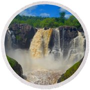 High Falls In July Round Beach Towel
