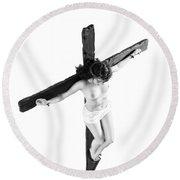 High Key Female Crucifix Round Beach Towel