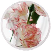 High Key Pink And White Carnation Floral  Round Beach Towel