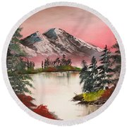 High Lakes Summer Sunset Round Beach Towel