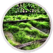 High Line Nyc Railroad Tracks Round Beach Towel