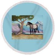 High Meadow Mustang Round Beach Towel