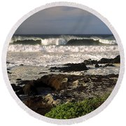 High Ocean Surf Round Beach Towel