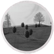 High On A Hill Round Beach Towel