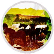 High Plains Horses Round Beach Towel