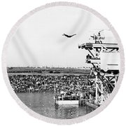 High Platform Swan Dive Round Beach Towel