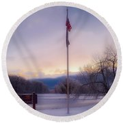 High Point State Park At Sunset Round Beach Towel