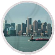 High Resolution Panoramic Of Downtown Boston During The Day Round Beach Towel