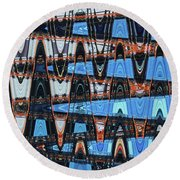 High Rise Construction Abstract # 4 Round Beach Towel