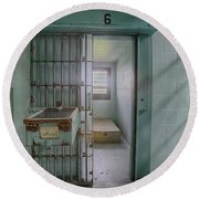 High Risk Solitary Confinement Cell In Prison Round Beach Towel