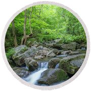 High Shoals Falls Trail In South Mountain Panorama Round Beach Towel by Ranjay Mitra