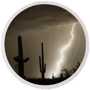 High Southwest Desert Lightning Strike Round Beach Towel